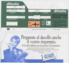 Alitalia carta d´imbarco verde boarding pass anni ´80 Credito Italiano