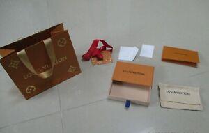 LOUIS VUITTON Empty Box Gift Set Paper Bag Ribbon Receipt Holder