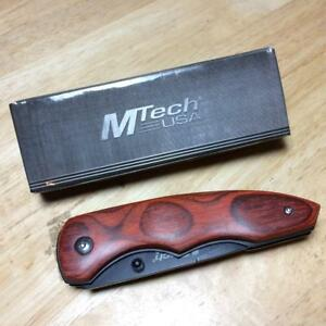 "MTech USA Tactical Brown Pakkawood Linerlock 4 1/2"" Pocket Knife MT407"