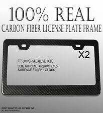 JDM Style 2 pcs REAL CARBON FIBER LICENSE PLATE FRAME TAG COVER ORIGINAL 3K I61