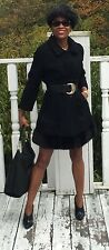 Designer Schiaparelli black Karakul lamb & Mink trim Fur Coat Jacket S-M 0-6/8