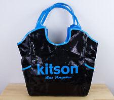 "KITSON Black Sequins Tote Bag Blue Borders Has Tags 17"" x 15"""