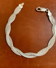 """ITALY STERLING SILVER BRAIDED  8MM BRACELET WITH  LOBSTER  CLASP. 7"""""""