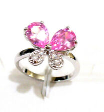 Women White Gold Plated Pink Cubic Zircon Butterfly Christmas Gift Ring J L O UK