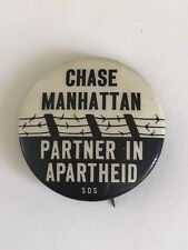 1965 SDS Protest Chase Manhattan Pin Students for A Democratic Society S. Africa