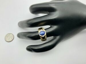 Vintage 10K Yellow Gold Star Sapphire And Diamonds Men's Ring Size 10, 3.3 Grams