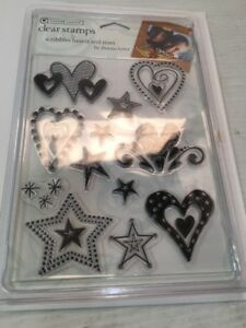 Autum Leaves - Hearts + Stars - Clear Acrylic Rubber Stamps Graphic Fun Look NEW