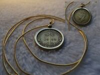 """1939 British West African Palm Tree Shilling Pendant on a 24"""" G.F. Snake Chain"""