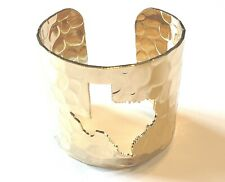 LADIES BEAUTIFUL GIFT HAMMERED GOLD CUT OUT TEXAS THEMED CUFF BRACELET NEW