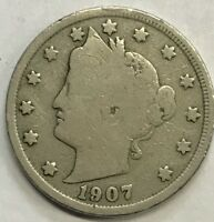 """1907  LIBERTY """"V"""" NICKEL **** NICE CIRCULATED COIN - L@@K AT PICTURES!!!!!  #424"""