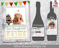 Personalised Christmas Wine Champagne Bottle Label Teacher Childminder Funny