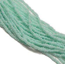 Green Ceylon Pearl Czech 6/0 Seed Bead on Loose Strung 6 String Hank