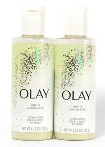 2 Bottles Olay 4.23 Oz Kiwi & Adzuki Seed Gently Exfoliating Face & Body Power