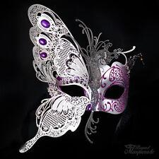 3D Half Butterfly Design Venetian Masquerade Mask for Women [Silver/Purple]