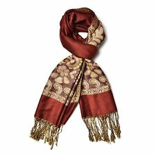 METALLIC BROWN BURGUNDY FLORAL LOOK DESIGNER LONG SCARF FASHION TASSELS
