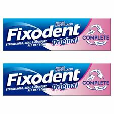 2 Fixodent Original Complete Denture Adhesive Cream Strong Food Seal Comfort 47g