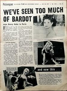 Brigitte Bardot We ' Ve Visto Too Much Of Bardot Vintage Película Artículo 1957
