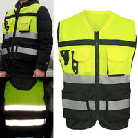 Hi-Vis Safety-Vest With Zipper-Reflective Jacket-Security Waistcoat W/ Pocket HH