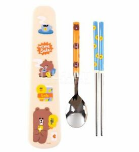 Line Friends Brown Sally Stainless Steel Spoon Chopsticks Case Set Cute Design