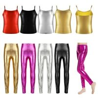 Girl Kids Metallic Shiny Dance Leggings Camisole Tank Top Gymnastics COSTUMES