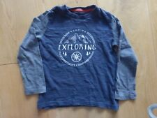 Mini Boden Boys 3-4 years long sleeved top Keep on Exploring grey VGC