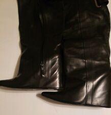 RTL $1695 Balenciaga Astrogirl Black Leather Hidden Wedge Tall Boots Shark sz 39