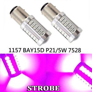 Strobe Flash Brake Light 1157 2057 3496 7528 BAY15D 33 LED Bulb Purple K1 G HAK