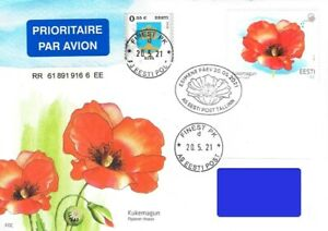 Estonia 2021 (10) Flower - Common poppy - stamp with a seed of poppy (FDC)