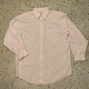 Brooks Brothers Button Up Shirt Mens 16.5-2/3 White Pink Cotton Fit 346 Collared