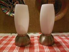 2 original Paul Neuhaus Nachttischlampen mit weißen Glas- Rohrenschirmen