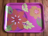 Pink Melamine 'Tropical Flowers' Serving/TV/Rolling Decor Tray By Gourmet Home P