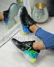 New Womens Chunky Lace Up Trainers Glossy Running Sport Comfy Ladies Shoes Sizes