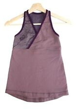 Lululemon Athletica Workout Top Purple Floral Design Mesh Back