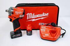 """Milwaukee 2555-22 M12 1/2"""" Stubby Impact Wrench Kit"""