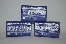 3 Bars All-One Hemp Peppermint Pure-Castile Soap Made With Organic Oils