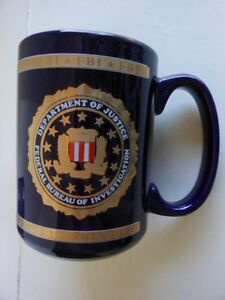 FBI HERALDRY PORCELAIN COFFEE MUG FEDERAL BUREAU OF INVESTIGATION NEW