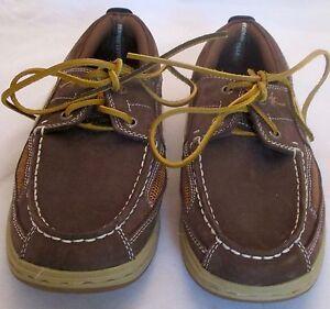 Men's Margaritaville Boat Shoes Sz 8 Tan Beige Deck Loafers Compass Leather Acc