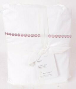 Pottery Barn Pearl Organic Percale Sheet Set, Queen, lavender, embroidered