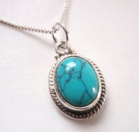 Small Turquoise Oval with Fine Rope Style Accents 925 Sterling Silver Pendant