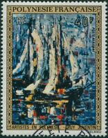 French Polynesia 1972 Sc#C90,SG161 40f Harbour painting FU