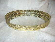 New listing vintage oval gold tone filigree vanity makeup mirrored tray daisy flowers
