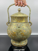 old  Chinese  Han dynasty  Tracing gold  bronzeware  handle  pot