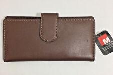 Mundi Womens Genuine Leather Tab Frame Classic Clutch Checkbook Wallet Brown