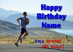 PERSONALISED MALE SPORT RUNNER JOGGER BIRTHDAY CARD - ADD NAME