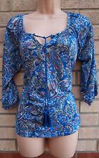 FLORENCE & FRED BLUE WHITE PINK PAISLEY TIE NECK CROP SLEEVE BLOUSE TOP SHIRT 8