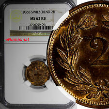 Switzerland Bronze 1936 B 2 Rappen NGC MS63 RB MORE RED Mintage-500,00  KM# 4.2a