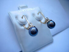 Genuine Diamond Black Pearl Dangle Earrings Frenchback 14K Yellow Gold