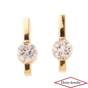 Estate White Stone 14K Gold Elegant Stud Earrings NR