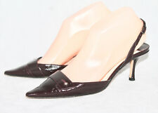 JIMMY CHOO Wo's 36.5 Dark Burgundy Patent Leather Pointy Toe Heel Slingbacks