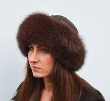 Luxury Finest Quality Brown Fox Fur & Leather Women's Vault Winter Furry Hat